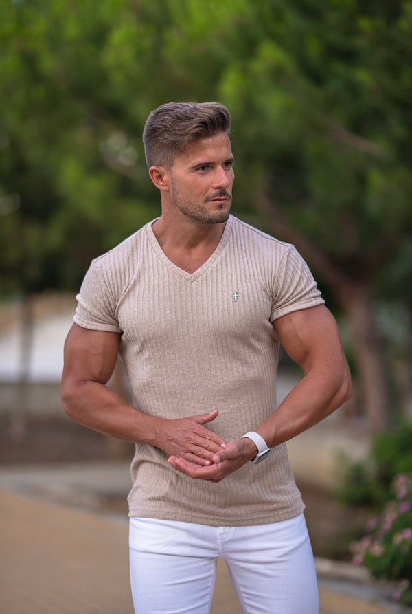 Father Sons Classic Beige / Gunmetal V Neck Ribbed Crew - FSH439