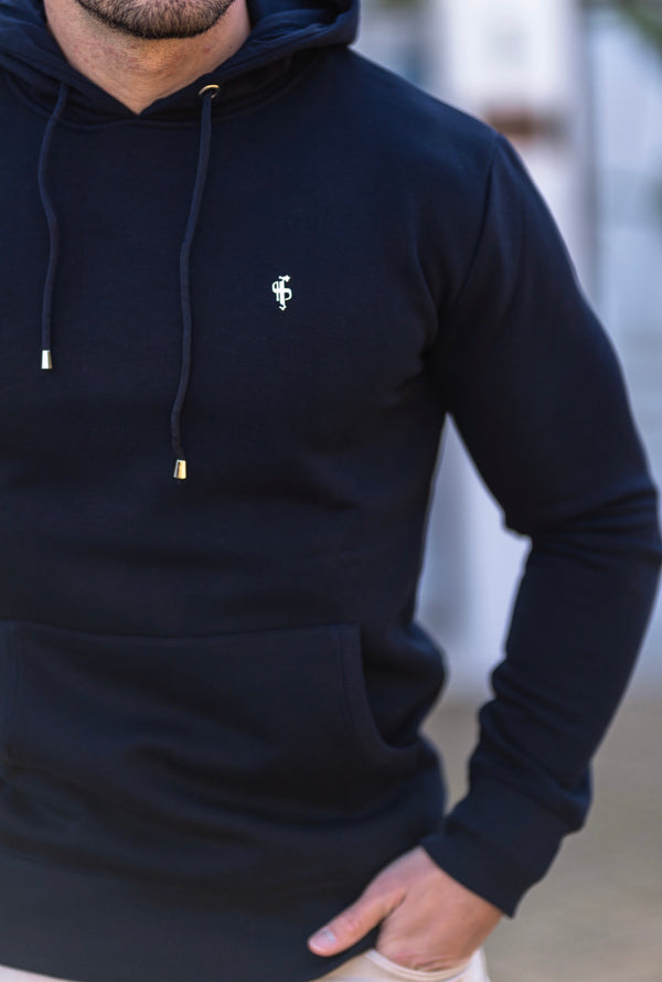 Father Sons Navy & Silver Overhead Hoodie Jumper - FSH542