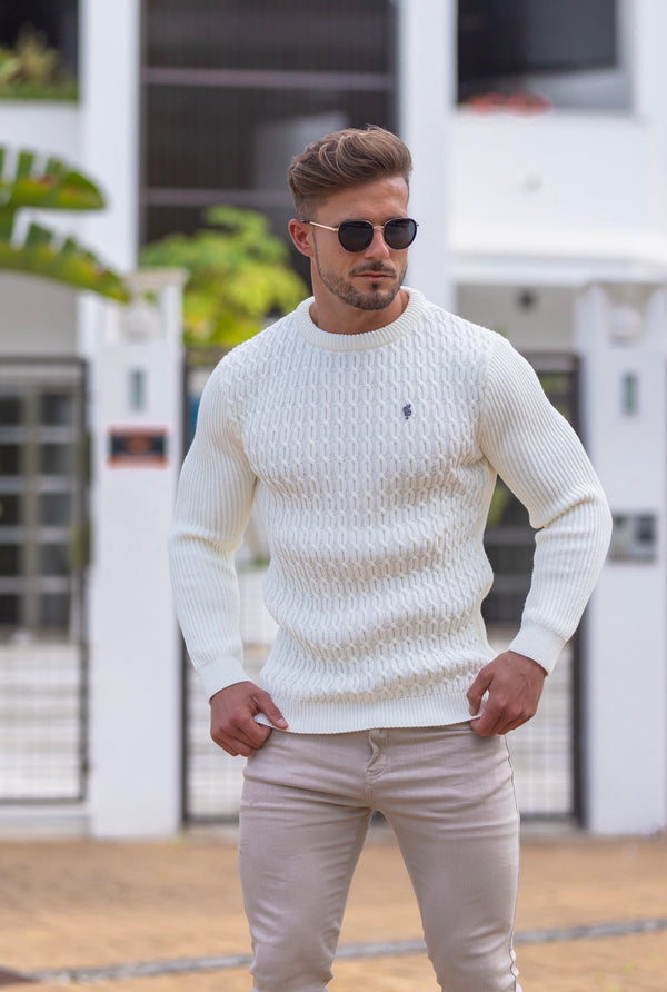 Father Sons Cream Knitted Braided Super Slim Jumper With Metal Decal - FSJ028 (PRE ORDER 30TH APRIL)