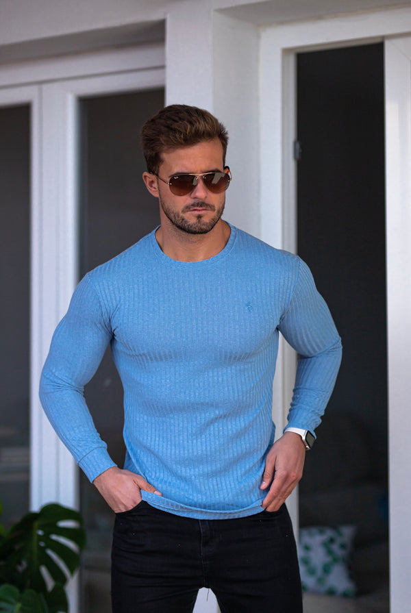 Father Sons Classic Baby Blue Ribbed Knit Jumper - FSH594