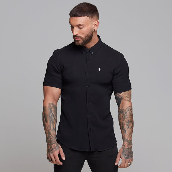 Father Sons Super Slim Stretch Ribbed Black Short Sleeve - FS407