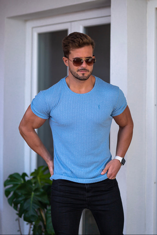 Father Sons Classic Baby Blue Ribbed Knit Super Slim Short Sleeve Crew - FSH593