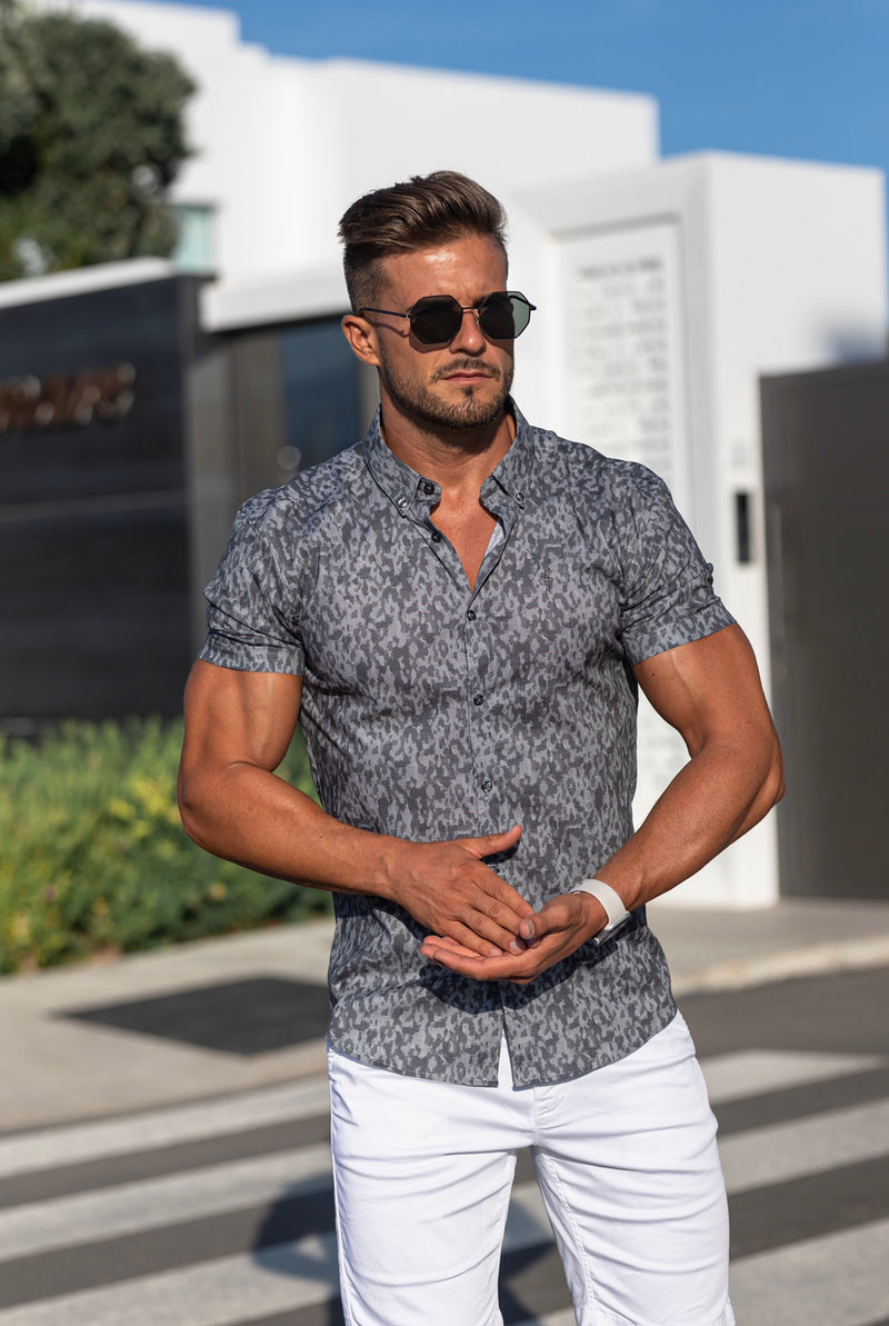 Father Sons Super Slim Stretch Charcoal Abstract Print Short Sleeve - FS699