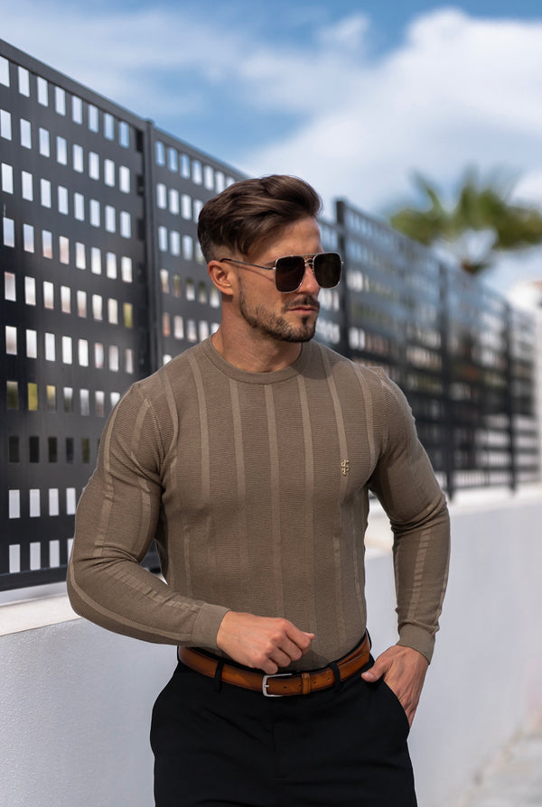 Father Sons Classic Long Sleeve Olive Green Knitted Wide Rib Crew with Gold Emblem - FSH603