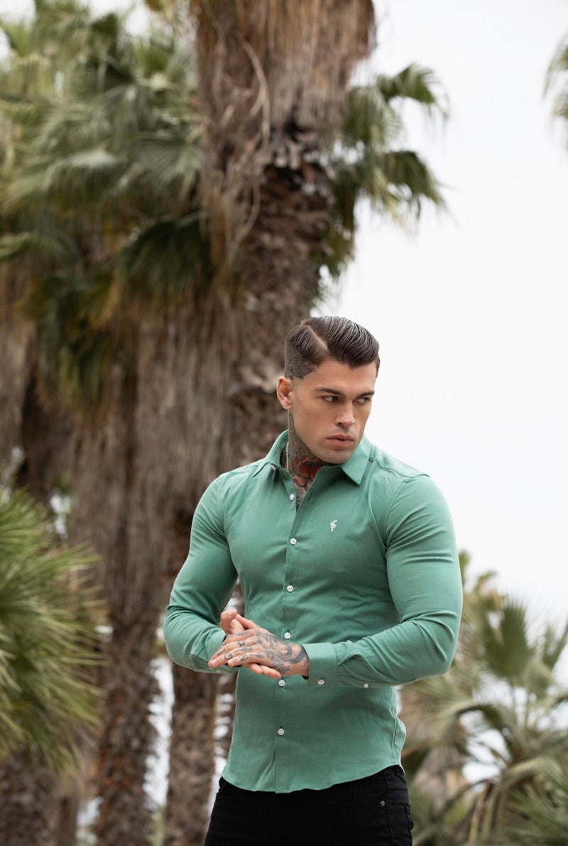 Father Sons Super Slim Luxe Ultra Stretch Petrol Green Long Sleeve -  FS478
