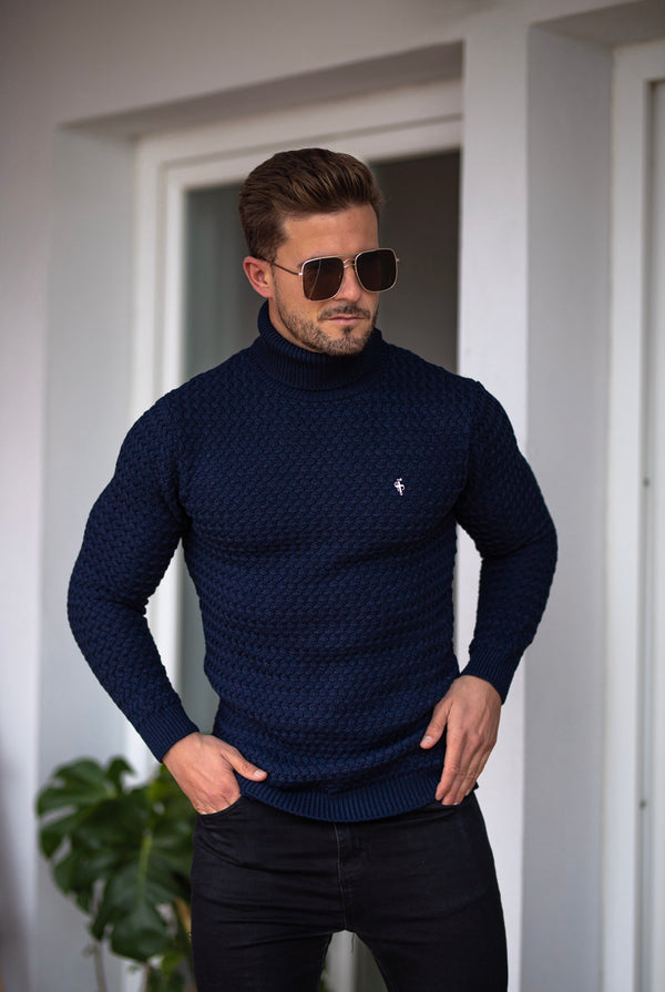 Father Sons Navy Knitted Roll Neck Weave Super Slim Jumper With Metal Decal - FSJ025 (PRE ORDER 10TH DECEMBER)