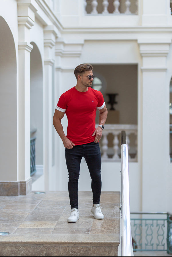 Father Sons Classic Red Crew T Shirt with FS Elastic Sleeve Branding - FSH648 (PRE ORDER 4TH JUNE)