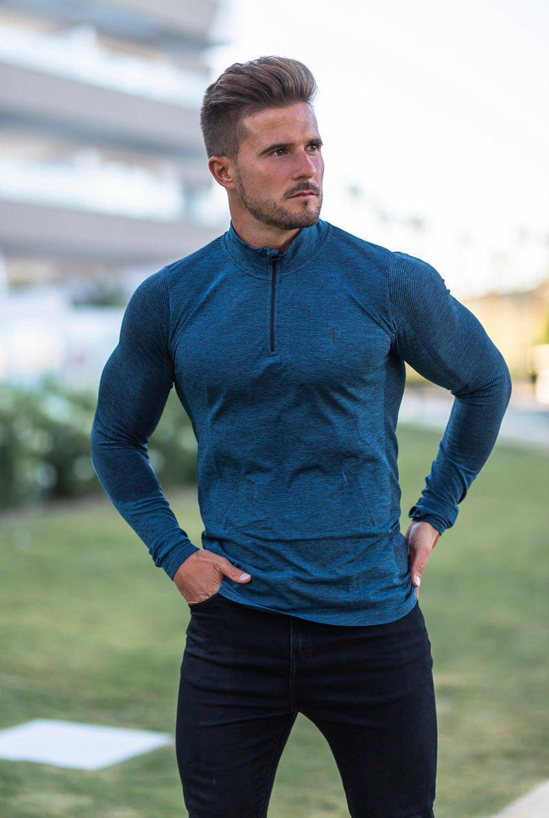 Father Sons Long sleeve Navy half zip gym top - FSM028