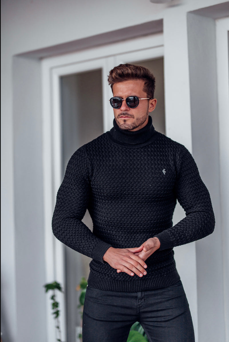 Father Sons Black Knitted Roll Neck Weave Super Slim Jumper With Metal Decal - FSJ024