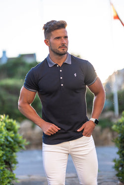 Father Sons Classic Navy Pima Polo Shirt with Contrast Collar Short Sleeve  - FSH397