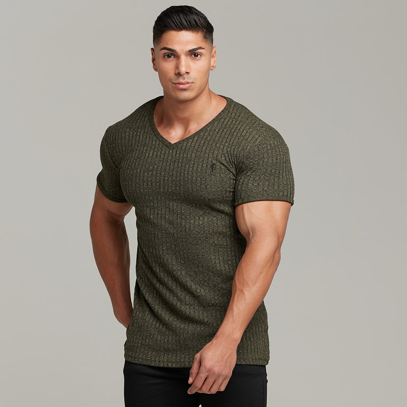Father Sons Classic Khaki V Neck Ribbed Crew - FSH390