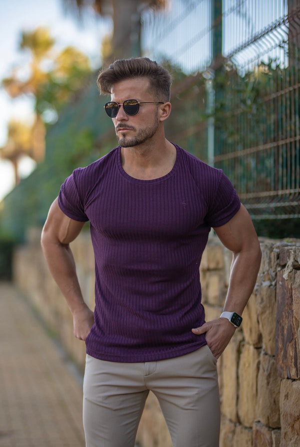 Father Sons Classic Plum Ribbed Knit Super Slim Short Sleeve Crew - FSH616
