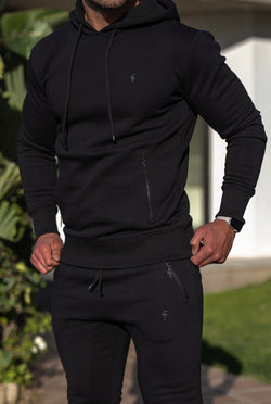 Father Sons Black / Black Overhead Hoodie Top with Zipped Pockets - FSH629