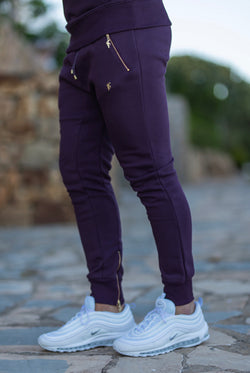 Father Sons Plum / Purple & Gold Tapered Bottoms with Ankle Zip Detail - FSH486
