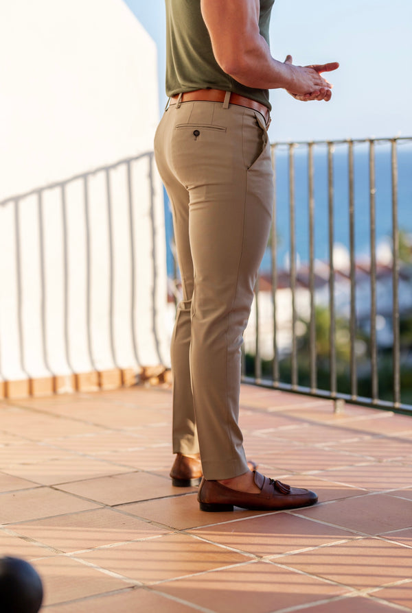 Father Sons Slim Formal Beige Stretch Trousers - FST003