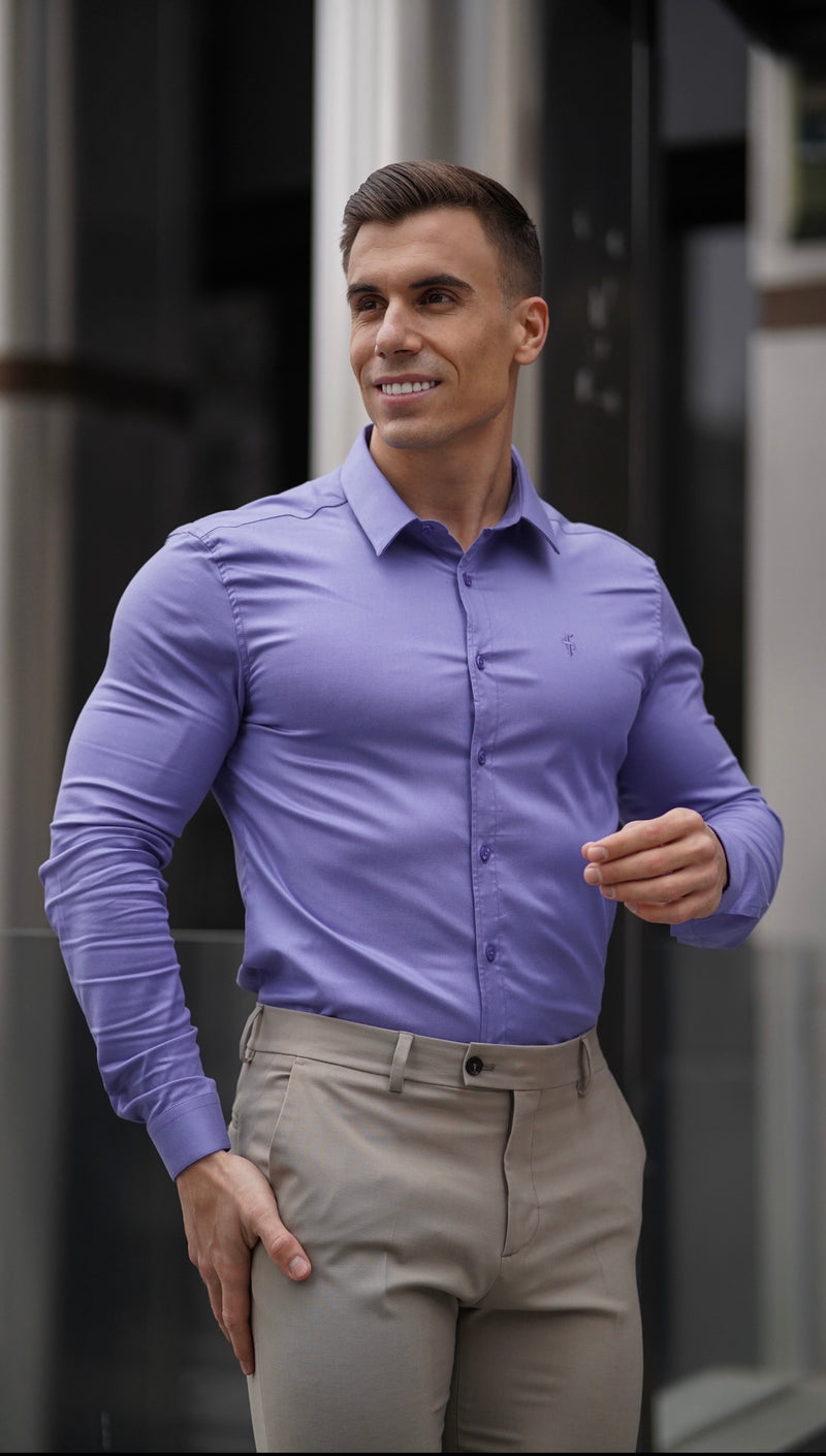 Father Sons Super Slim Luxe Ultra Stretch Classic Purple Long Sleeve -  FS742