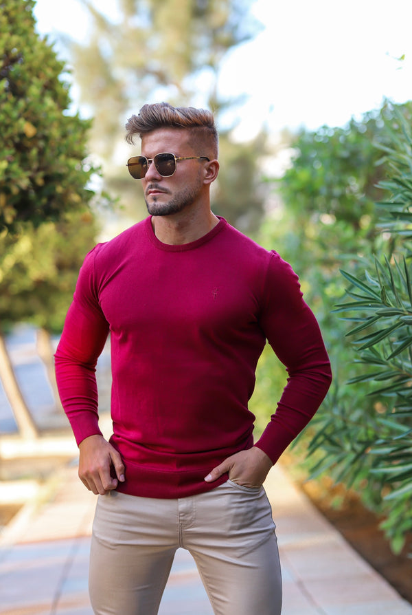 Father Sons Classic Burgundy Crew Neck Knitted Jumper (Burgundy Emblem) - FSH363