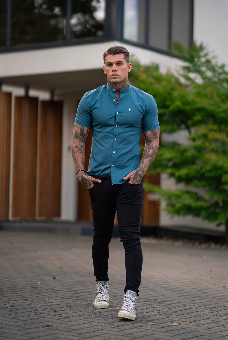 Father Sons Super Slim Stretch Teal Denim Short Sleeve Grandad collar with Metal Buttons and Decal Emblem - FS712