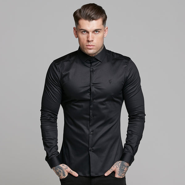 Father Sons Slim Sateen Classic Black Long Sleeve - FS545 (PRE ORDER / DISPATCH DATE 2ND OCTOBER)