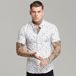 Father Sons Super Slim Stretch Feather Print Short Sleeve - FS428