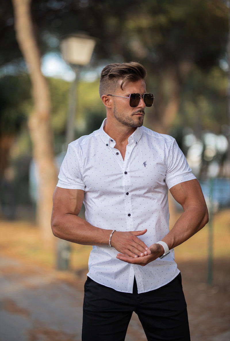 Father Sons Super Slim Stretch White & Grey Circular Print Short Sleeve - FS694
