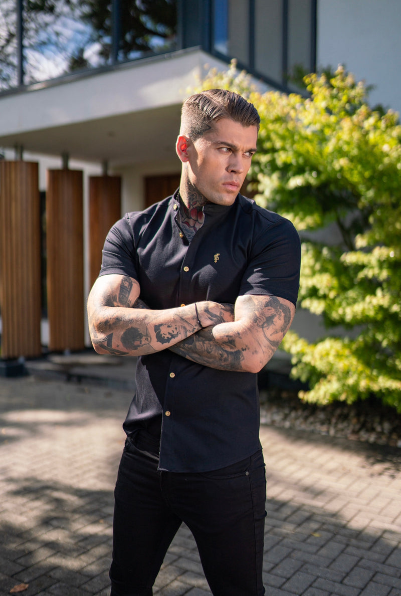 Father Sons Super Slim Stretch Black Denim Short Sleeve Grandad collar with Metal Buttons and Decal Emblem - FS708