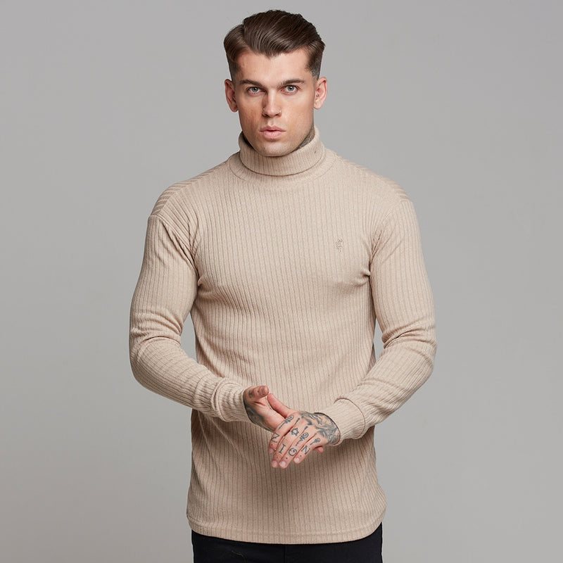 Father Sons Classic Beige Ribbed Knit Roll-neck Jumper - FSH292