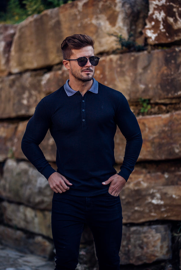 Father Sons Classic Black Honeycomb Textured Polo Shirt with Contrast Collar Long Sleeve  - FSH421
