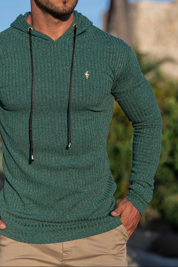Father Sons Classic Forest Green / Gold Ribbed Knit Hoodie Jumper - FSH508 (PRE ORDER / DISPATCH DATE 12TH OCTOBER)