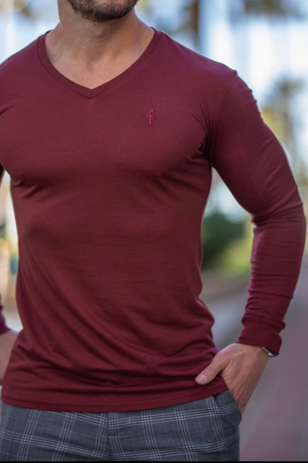 Father Sons Ox Blood Bamboo V Neck Crew Long Sleeve - FSH589