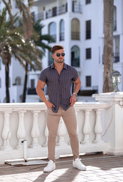 Father Sons Classic Relaxed Grey Self Stripe Short Sleeve - FS737