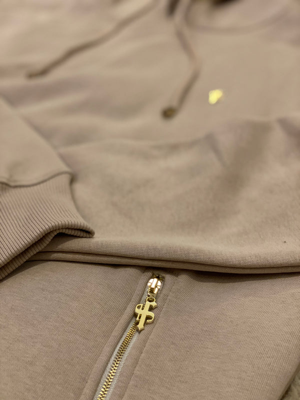 Father Sons Beige & Gold Overhead Hoodie Top with Zipped Pockets - FSH483 (PRE ORDER / DISPATCH DATE 22ND JUNE)