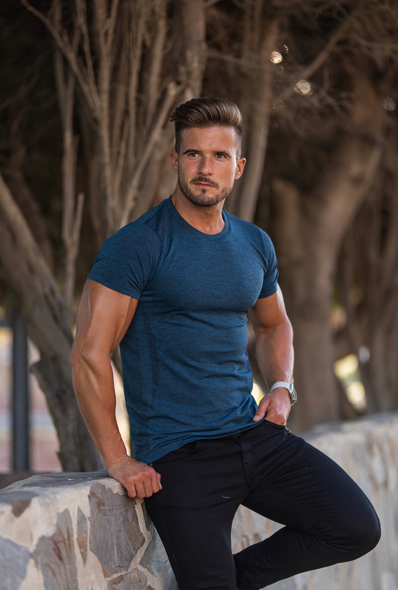 Father Sons Short sleeve Navy crew gym top - FSM027
