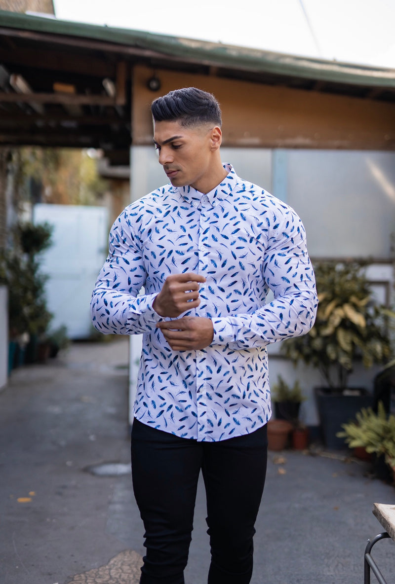 Father Sons Super Slim Stretch Blue Feather Print Button Down - FS595