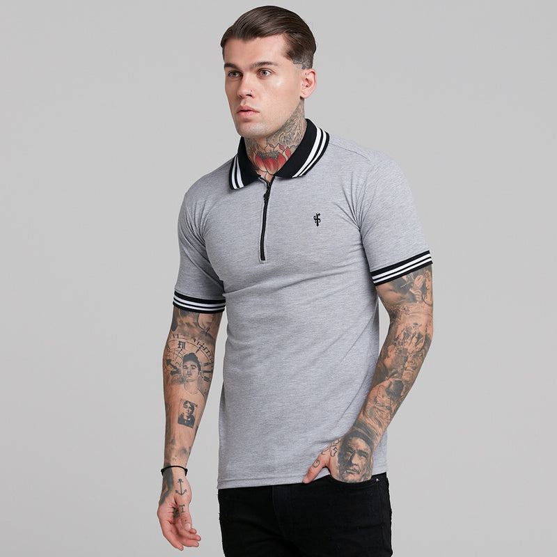 Father Sons Classic Grey Contrast Collar Polo Shirt - FSH237