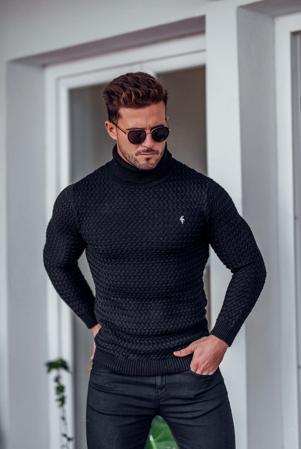 Father Sons Black Knitted Roll Neck Weave Super Slim Jumper With Metal Decal - FSJ024 (PRE ORDER 10TH DECEMBER)