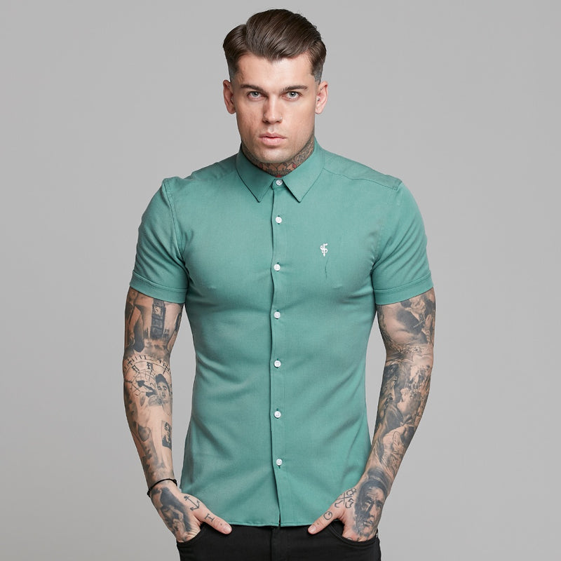Father Sons Super Slim Luxe Ultra Stretch Petrol Green Short Sleeve -  FS521