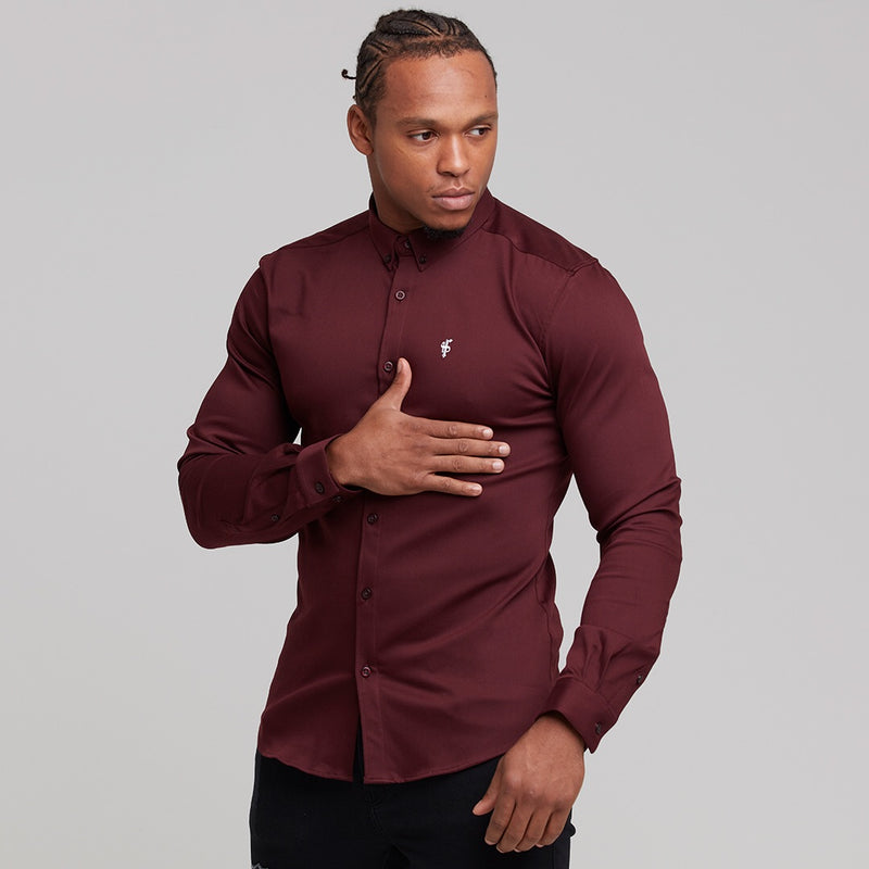 Father Sons Super Slim Stretch Burgundy Denim Long Sleeve - FS212