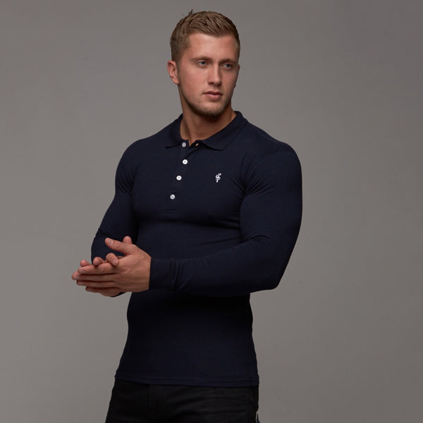 Father Sons Classic Navy Polo Long Sleeve Shirt - FSH036