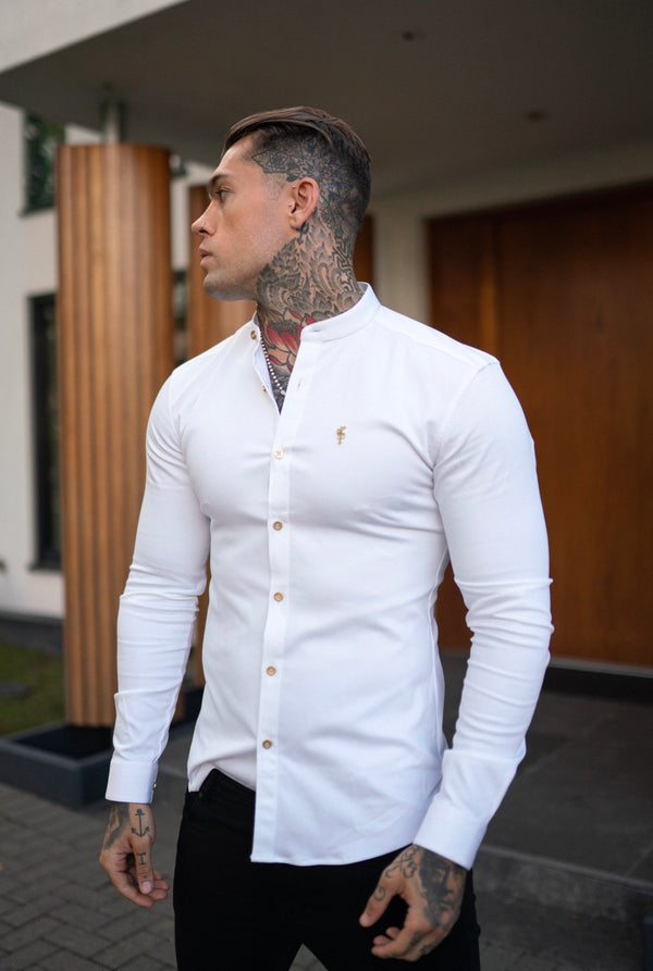 Father Sons Super Slim Stretch White Denim Long Sleeve Grandad collar with Metal Buttons and Decal Emblem - FS719