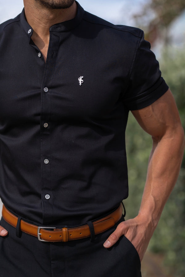 Father Sons Super Slim Stretch Solid Black Denim Short Sleeve Grandad collar with Silver Metal Buttons and Decal Emblem - FS763