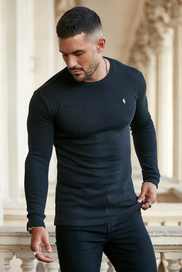 Father Sons Classic Black Super Slim Jumper - FSH409