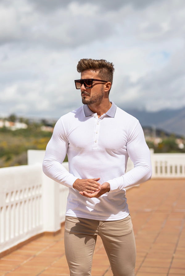 Father Sons Classic White Honeycomb Textured Polo Shirt with Contrast Collar Long Sleeve  - FSH423
