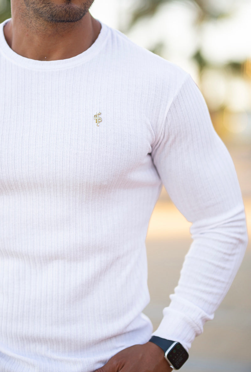 Father Sons Classic White / Gold Ribbed Knit Super Slim Crew - FSH499