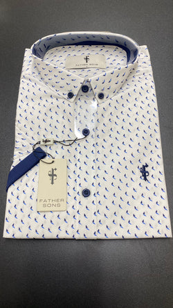 Father Sons White with Blue / Navy Print With Navy Contrast Sleeve- FSX121