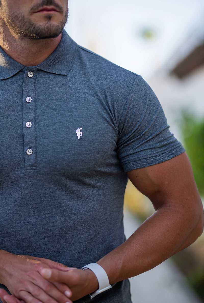 Father Sons Classic Dark Grey Polo Shirt with Silver Metal Emblem Decal & Buttons - FSH460