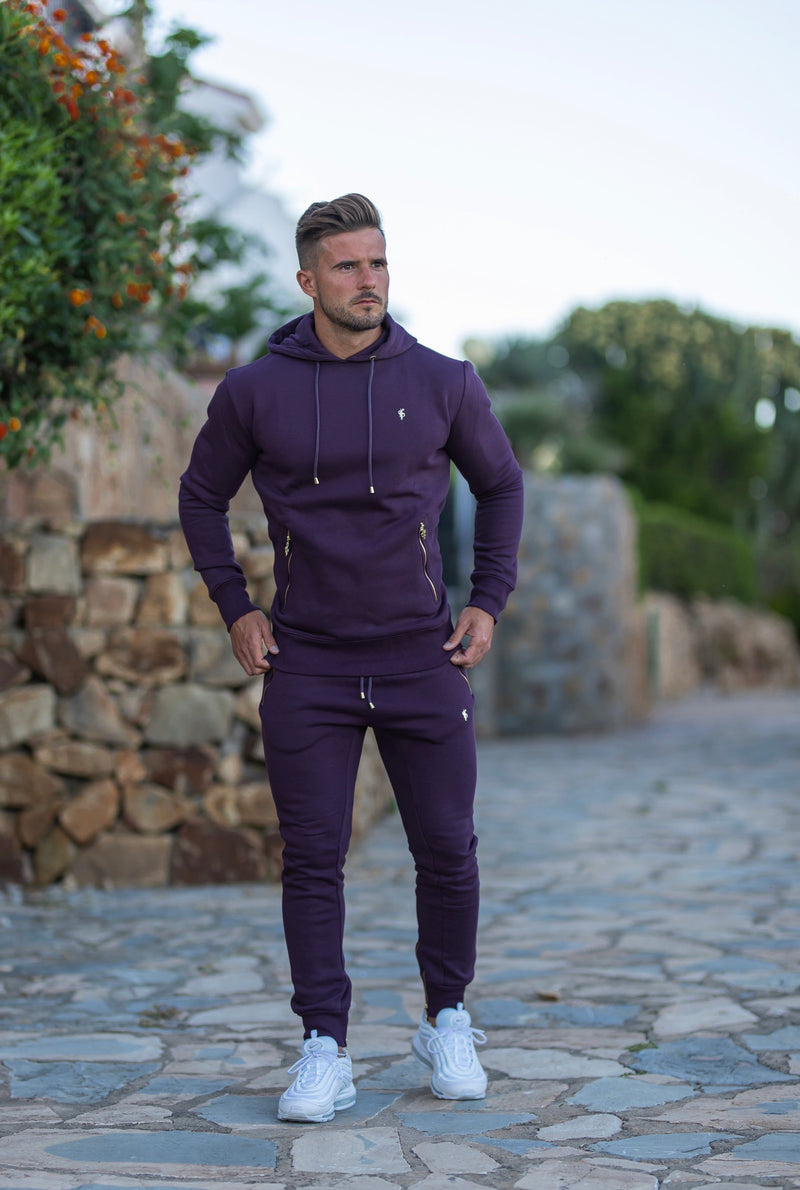 Father Sons Plum / Purple & Gold Overhead Hoodie Top with Zipped Pockets - FSH485
