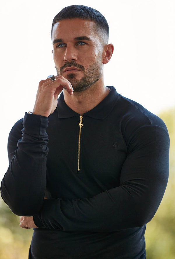 Father Sons Classic Black and Gold Zipped Long Sleeve Polo Shirt - FSH415 - Pre-order - Dispatched Friday 15th November