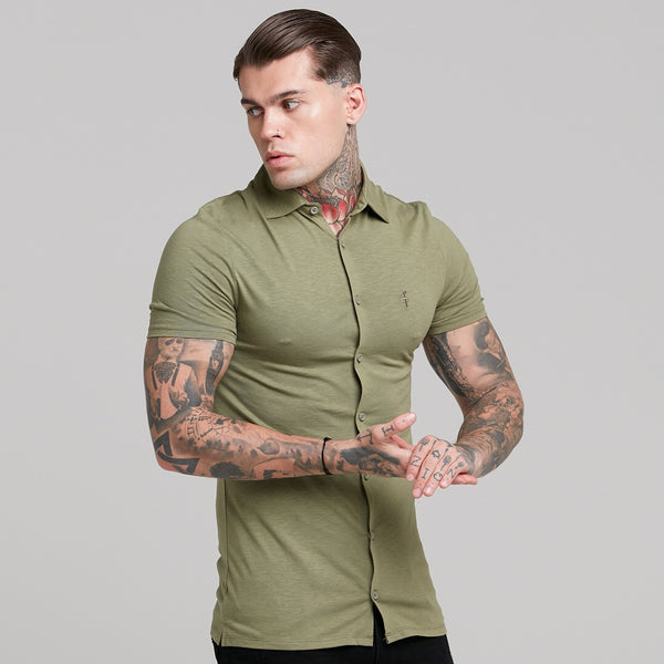 Father Sons Super Slim Khaki Jersey Short Sleeve - FSH014