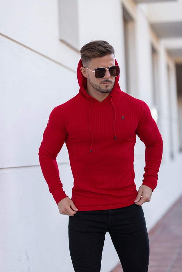 Father Sons Classic Red Ribbed Knit Hoodie Jumper With Black Emblem - FSH620
